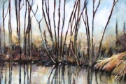 10-015 - River Reflection II - £263 - Acrylic on Board in wood frame 69x59cm