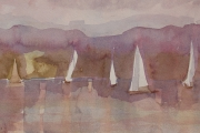 11-040 - Evening Sail at Barton - £113 - Watercolour on Paper - White mount  in Wood frame40x30cm