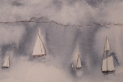 11-061 - Misty Sail - Line & W/colour on Paper - £12.00 - Mounted 18x15cm