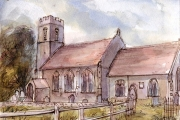 13-002 - St Andrews Lammas - Line & W/colour on Paper - £55.00 - Mounted 35x28cm