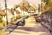 13-015 - Suffolk Village - £38 - Line & W/colour on Paper - White mount 25x20cm