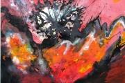 13-034 - Poppy - £150 - Acrylic on W/C Paper - Mounted in black frame  45x35cm