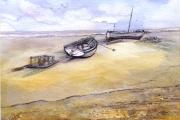 13-039 - Aldeburg Boats - £98 - Watercolour on W/C Paper- White mount in Black frame 35x28cm