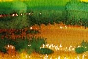 13-066 - Norfolk Rape Fields Mid May - £38 - Watercolour on W/C Paper -  White mount 25x20cm