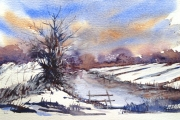 13-082 - Winter on the Bure - Watercolour on W/C Paper - £45.00 - 35x28cm - Mounted
