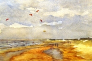13-083 - Kite Flying at Old Hunstanton - Watercolour on W/C Paper - £25.00 - 25x20cm - Mounted