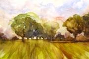 13-087 - Evening Glow Lammas -Watercolour on W/C paper - £65.00 - 45x35cm - Mounted