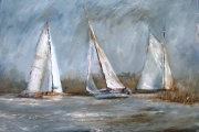13-095 - Sailing at St Benets - £315 Oil on Board - White mount in White frame 56x46cm