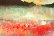 13-098 - Broadland View - Acrylic on Board - £ TBC - 38x38cm - Mounted and in white Framewhite