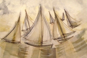 13-104 - Designs on Sailing I - Line & W/colour on W/C Paper - £45.00 - 35x28cm - Mounted