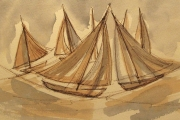 13-105 - Designs on Sailing II - Line & W/colour on W/C Paper - £ TBC - 35x28cm - Mounted