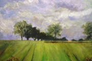 13-106 - Skeyton Track to Seven Oaks - £315 - Acrylic on Board - White mount in White frame 50x50cm
