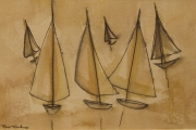 11-035 - Sail Reflections II - Line & W/colour on Paper - £ TBC - Mounted 18x24cm