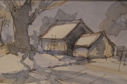 11-065 - Barns in Winter - Line & W/colour - Paper - £30.00 - Mounted 20x25cm