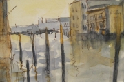 11-057 - Grand Canal Venice - Line & W/colour on Board - £30.00 - Mounted 20x25cm