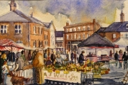 14-009 - Aylsham Farmers Market - £62 - Watercolour on W/C Paper - White mount in Black frame 25x20cm