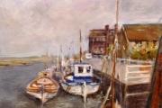 14-020 - Boats at Blakeney II - £315 - Oil on Board - White mount in White frame 57x46cm