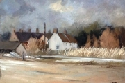 14-021 - Windy Day at Brancaster Staithe -£338 -  Oil on Board - White mount in Oak frame41x34cm