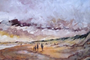 14-031 - Windy at Old Hunstanton - £137 - Mixed Media on W/C Paper - White mount in Oak frame 45x35cm