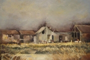 14-040 - Boat Sheds at Brancaster - £315 - Oil on Board - White mount in White frame 56x46cm