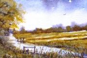 14-053 - Bure View  - £62 - Line & W/colouron W/C Paper - White mount in Oak frame 25x20cm