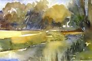 14-068 - River Bure - £116 - Line & W/colour on W/C Paper - White mount 40x30cm - Black Frame