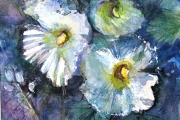 14-070 - Hollyhock Blues - £128 - Mixed Media on W/C Paper White mount in Black frame 38x38cm
