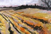 14-071 - Norfolk Furrows - £128 - 	Mixed Media on W/C Paper - White	mount in Black frame 38x38cm