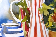 14-074 - Still Life with Hydrangea Head -£155  Watercolour on W/C Paper - White mount in Oak frame 50x40cm