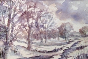 14-079 - Winter Walk - £68 - 	Mixed Media on W/C Paper - White	mount 35x28cm