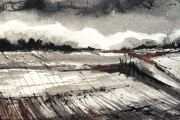 15-003 - Just Before Dark - £132 - Acrylic on W/C Paper - Whitemount in Oak frame40x30cm