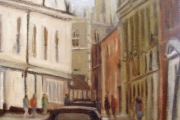 15-028 - Princes Steet to the Cathedral - £240 - Oil C/Board- Spec frame 42x37cm