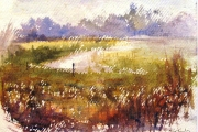 15-030 - Light in the Bure - £99 - Watercolour on W/C Paper - Mounted in oak frame 35x28cm