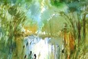 15-040 - Irstead Dyke -£137 -  Watercolour on W/C Paper - Mounted in oak frame 45x35cm
