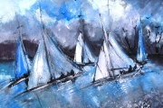 15-043 - Evening Sail - £153 - Acrylic on W/C Paper - White mount in Black frame50x40cm