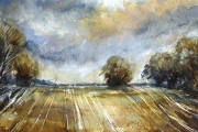 15-055 Across the fields £82.50 Watercolour on W/C Paper Mounted 40x30cm
