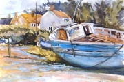 160-021 -Blue Boats at Brancaster Staithe - £90.00 - Watercolour on Board - Mounted 35x28cm