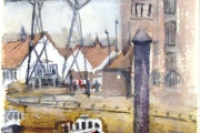 160-023 - Moorings at Wells Quay - £54.00 - Watercolour on W/C Paper - Mounted 25x20cm in * Black frame *