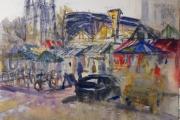 160-030 - Downpour - Norwich Market - £145.50 - Watercolour on Board - 50x40cm in * Black Frame*