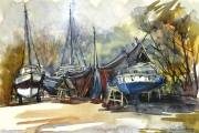 160-041 - Autum View at the Boatyard - £82.50 - Mixed Media on Board - 	Mounted	40x30cm